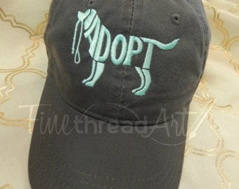 Adopt Dog Cap Hat FABRIC strap Adult or Ladies Size Dog Mom Rescue Shelter Dog Adoption Dog Mutt Mixed Breed