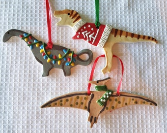Pick One - Dinosaur Ornament - Ceramic - T-Rex, Pteranodon, Brontosaurus, Stegosaurus, Triceratops - Ugly Christmas Sweater