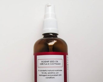 Rosehip Seed Oil - 100ml Pure Organic and Cold Pressed - Beauty Oil