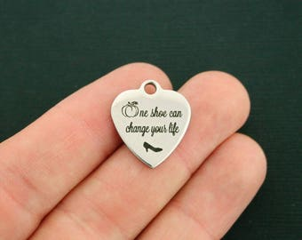 Cinderella Stainless Steel Charm - One Shoe can Change Your Life - Exclusive Line - Quantity Options - BFS2354 NEW5