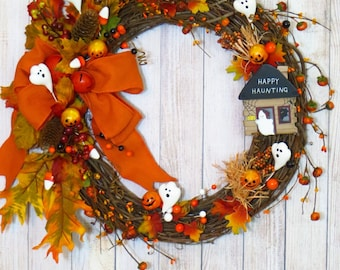 Halloween Wreath, Rustic Halloween Wreath, Halloween Decor, Halloween Grapevine, Happy Haunting, Halloween Ghosts, Fall Wreath
