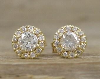 Diamond Halo Earrings, Diamond Yellow Gold Stud Earrings, Gold Diamond Stud Earrings, Vintage Gold Diamond Earrings On Sale, Natural diamond