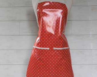 Womens Waterproof Apron Gardening Apron Cooking Apron in Coral with Cream Dots