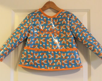 Toddler Baby Long Sleeved Art Smock Painting Smock in Blue with Foxes