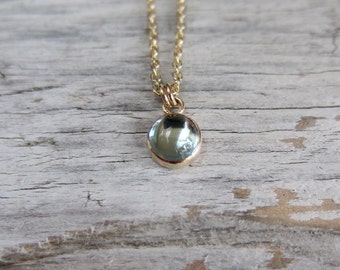 Birthstone necklace, gemstone necklace, blue topaz in gold filled or sterling silver. London blue topaz necklace.