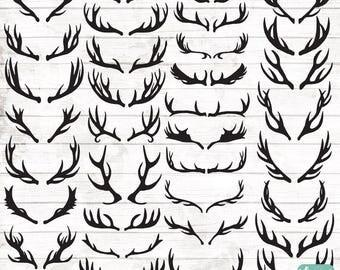 Boho Antler Silhouette Clipart - Antlers PNG - Hand Drawn Antler Clipart - Vector Tribal Art - Boho clipart - Boho Illustration - 124