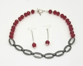 Garnet and silver chain; 18'long with toggle clasp and matching earring included