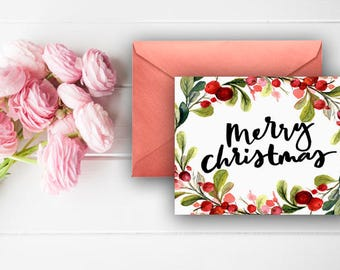 Merry Christmas Thank You Cards, Berries, Garland, Watercolor Wreath, Digital Download, Printable Cards, Red, Green