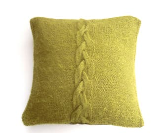 "Hand knitted green pillow , knit in mohair with big feature cable / braid , Cushion cover / Pillow throw 14"" x 14"" with wool tartan back"