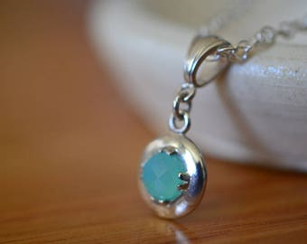 Tiny Peruvian Blue Opal Necklace, Sterling Silver Chain, Women's Wedding Pendant & Bridal Jewelry