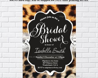 Leopard invitation, Bridal shower, leopard bridal invitation, party, or for birthday party Modern chalkboard,  Invitation - card 317