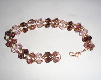 Bracelet 20-18 Guage Wire Purple Beads