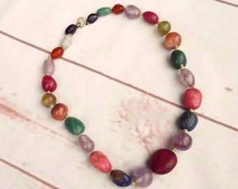 Polished Stone Necklace - Vintage Stone Necklace - Vintage Necklace - 70s Jewellery - Boho Necklace