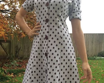 Vintage Dress - Polka Dot Dress - Button Up Dress - Spotty Dress - Small Vintage Dress - White Vintage Dress - Mod Vintage Dress - Mod Dress