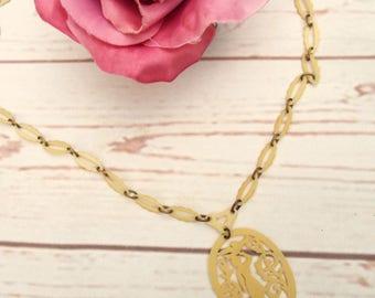 Celluloid Silhouette Necklace - Vintage Celluloid Necklace - 1930s Necklace - 1930s Celluloid Jewellery - Cream Necklace - Cut Out Necklace