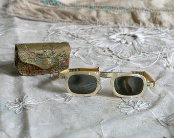 Vintage 1960's Pearl Star Studded Folding Sunglasses with Glass Lenses, Asian Glasses Case, Retro, Mid Century, Women's Sunglasses