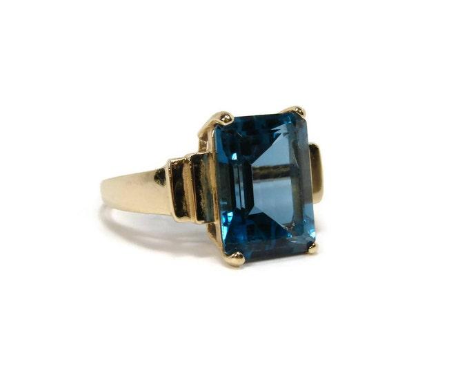 Estate 10K Gold London Blue Topaz Ring,Size 9