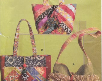 Vogue 8484 Crazy Quilted Patchwork and Embroidered Handbags Sewing Pattern
