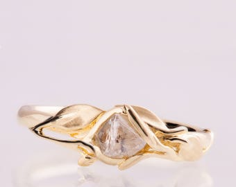 Leaves Engagement Ring No.6 - 14K Gold and  Rough Diamond engagement ring, Unique Engagement ring, rough diamond ring, raw diamond ring