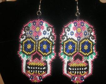 "Hand Beaded Suger Skull Earrings ""Dia De Los Muerto's"""