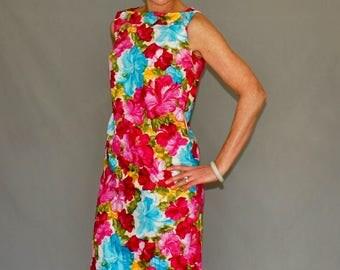 1960's Kamehameha Hawaiian Floral Sheath Dress