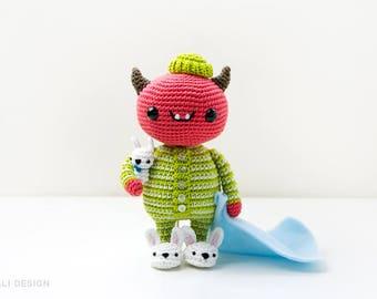 Mandarino, baby devil in pajamas | amigurumi pattern