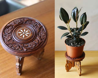 Indian Carved and Inlaid Wood Plant Stand, Small Table