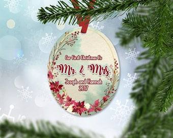 Personalized Just Married Christmas Ornament, Wedding Gift Ornament, Christmas 2017, Keepsake Ornament, Christmas Flowers Ornament (040)