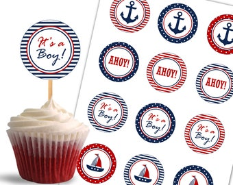 Nautical Cupcake Toppers, Birthday Printable Cupcake Toppers, Nautical Theme Party, It's a Boy  - Instant Download - DP443