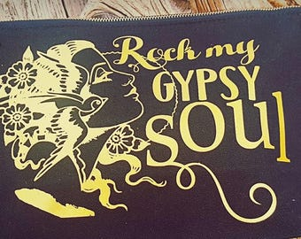 Rock my Gypsy Soul Flash Tattoo art Large Makeup Bag black and gold