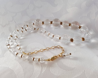 Clear Glass Gold Necklace, Glass Bead Necklace, Clear and Gold Necklace, Bridal Jewelry, Wedding Jewelry, Necklace, Beaded Necklace