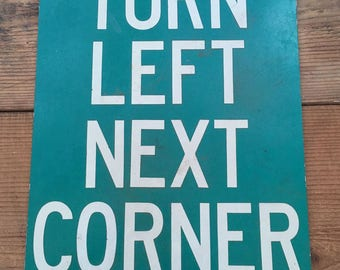 Vintage Turn Left Street Sign Metal Signage
