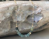 Aquamarine Necklace, Aquamarine Necklace in Gold or Silver, Gold or Silver Moss Aquamarine Necklace, Moss Aquamarine Necklace, Aquamarine