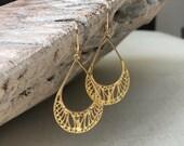 Filigree Earrings, Gold Filigree Earrings, Gold Medium Filigree Earrings, Gold Medium Filigree Hoop Earrings, Filigree Hoop, Mother Gift