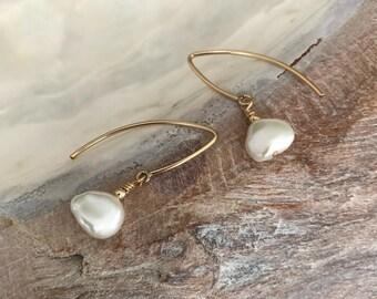 Keshi Pearl Earrings in Gold or Silver