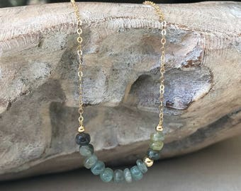 Moss Aquamarine Bar Necklace in Gold or Silver