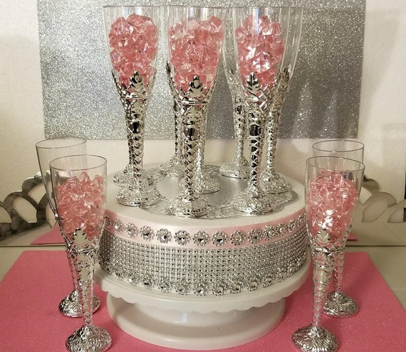 12 Royal Princess Baby Shower Champagne Flutes/Perfect For Girls PINK And SILVER Baby Shower