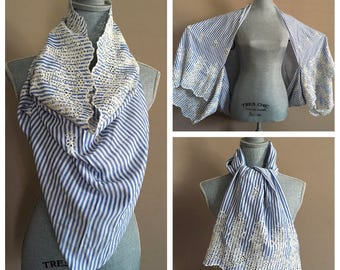 Convertible Scarf and Wrap With Sleeves- Many Ways to Wear it - Blue Pinstriped Embroideries