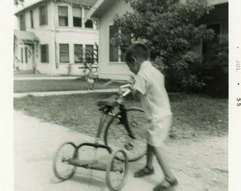 "Vintage Photo ""Three Wheel Rider"" Snapshot Antique Black & White Photograph Found Paper Ephemera Vernacular Interior Design Mood - 20"