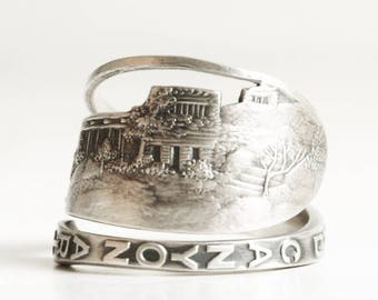 Grand Canyon Souvenir Ring, Vintage Sterling Silver Spoon Ring, Grand Canyon Jewelry, 925 Upcycled, Handcrafted Adjustable Ring Size (6778)