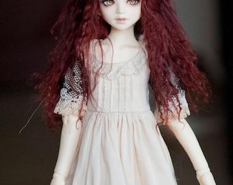 1/6 Size Short Chestnut Dark Brown Tibetan Mohair Wavy Wig (Size: 17cm) for Unoa Volks BJD YOSD Dolls