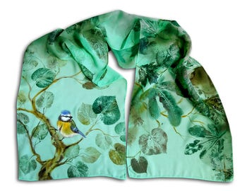 Scarf with blue tit and eco print with alive leaves, mint chiffon, summer fashion, nature motives, cute birdy, green landscape, ooak scarf