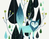 Foxy Forest - Teal - Fine Art Print 8x10