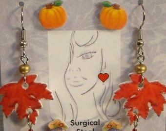 Fall Harvest Earring Gift Set - Maple Leaf Jewelry - Pumpkin Jewellery