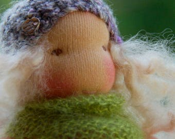 Cara, Waldorf Inspired Doll, Pocket Doll  7 in Cuddle Doll, Soft Toy by Atelier Lavendel, ECO friendly