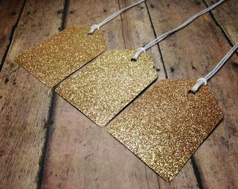 Glitter Gift Tags, Holiday Gift Tags, Gift Wrapping, Gold Birthday Favor Tags, Favor Tags, Gift Giving Supplies, Wedding Tags, Wish Tree