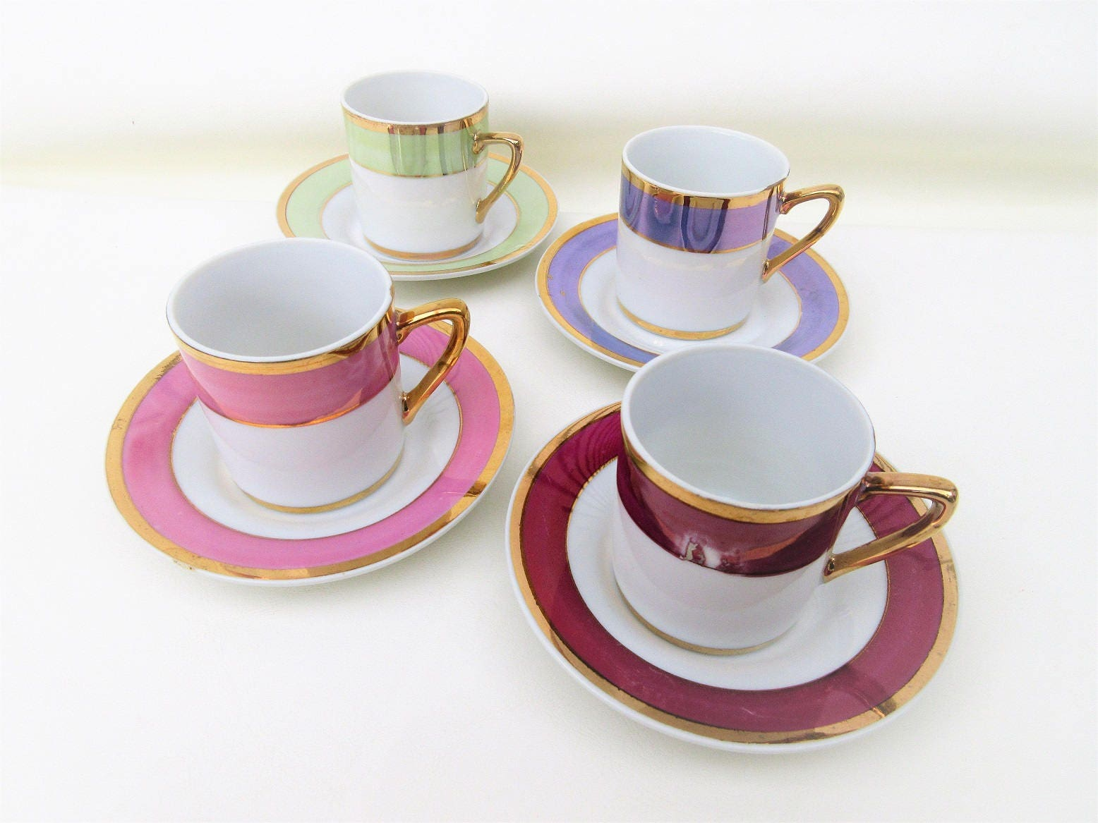 Vintage Espresso Cup Sets Demitasse Cups Saucers Small