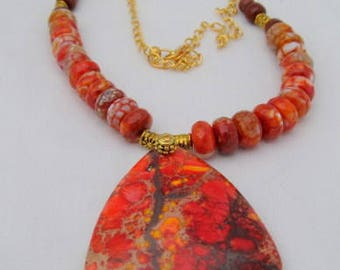 Fire Engine Red Jasper pendant with Agate and Obsedian beads  22 inches