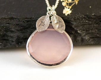October Birthstone Necklace Sterling Silver, Blush Pink Jewelry, Gift for Sister, Stamped Initial Charm, Rose Quartz Necklace, Meaningful
