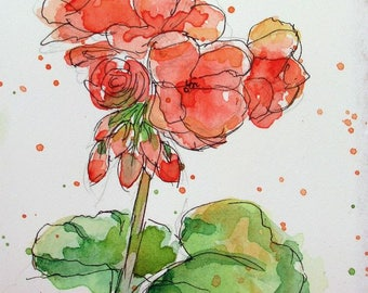 "Language of Flowers Original ACEO PEACH GERANIUM  watercolor 2.5"" X 3.5"""